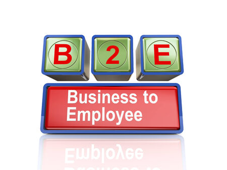 b2e: 3d rendering of reflective boxes buzzword  b2e - business to employee