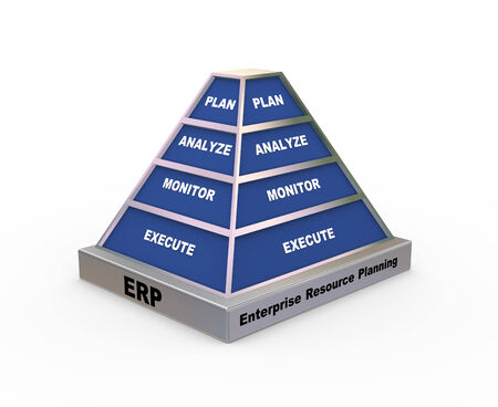 3d rendering of pyramid presentation of concept of erp enterprise resource planning photo