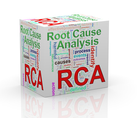 3d Illustration of word tag wordcloud cube of rca - root cause analysis