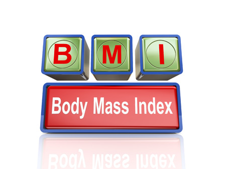 3d rendering of reflective boxes buzzword bmi - body mass index Stock Photo
