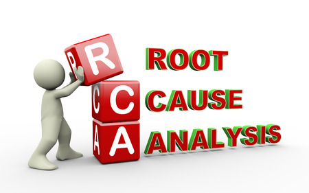 3d Illustration of man placing cubes of rca - root cause analysis. 3d white people man character Imagens
