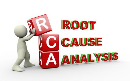 3d ilustración del hombre colocando cubos de rca - análisis de la causa raíz. Hombre del carácter 3d gente blanca Foto de archivo - 31125841