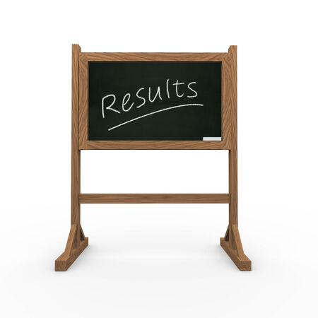 3d rendering of black chalkboard presentation of concept of results photo