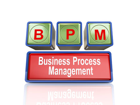 bpm: 3d rendering of reflective boxes buzzword  bpm - business process management