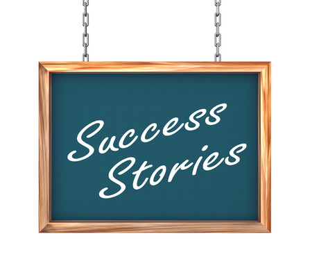 attainment: 3d rendering of hanging wooden signboard banner of concept of success stories