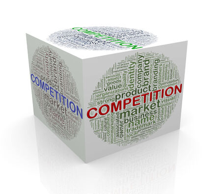 3d rendering of cube box of wordcloud word tags of competition  photo