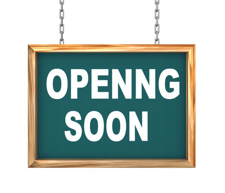3d rendering of hanging wooden signboard banner of concept of opening soon photo