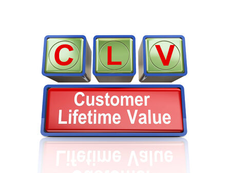 3d rendering of reflective boxes buzzword clv - customer lifetime value Stock Photo