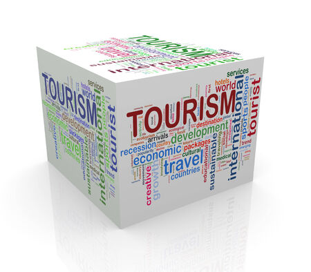 3d rendering of cube box of wordcloud word tags of tourism