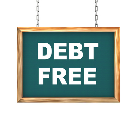 3d rendering of hanging wooden signboard banner of concept of debt free photo
