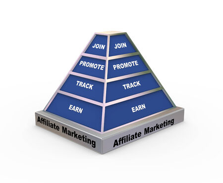 3d rendering of pyramid presentation of concept of affiliate marketing photo