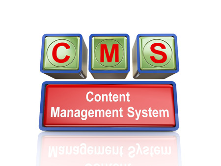 3d rendering of reflective boxes buzzword  cms - content management system photo