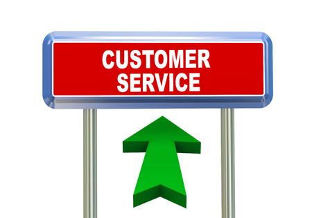 3d rendering of moving arrow and roadsign singpost of of concept of customer service Stock Photo