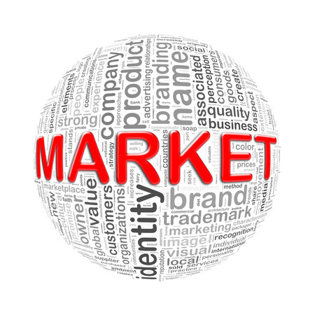 Illustration of word tags wordcloud ball sphere of market