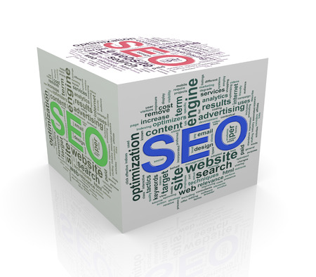 optimizing: 3d rendering of cube box of wordcloud word tags of seo - search engine optimization Stock Photo