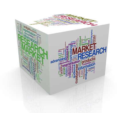 3d rendering of cube box of wordcloud word tags of market research photo