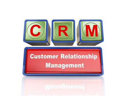buzzword: 3d rendering of reflective boxes buzzword crm - customer relationship management Stock Photo