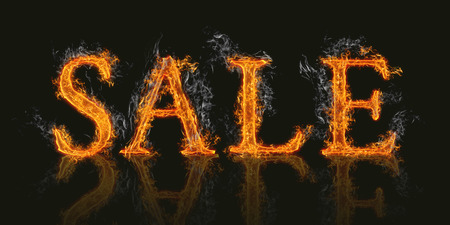 burning alphabet: Illustration of word sale on realistic flaming burning hot fire with reflection