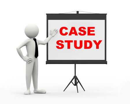 3d rendering of business person with tripod projector screen presenting concept of case study. 3d white people man character