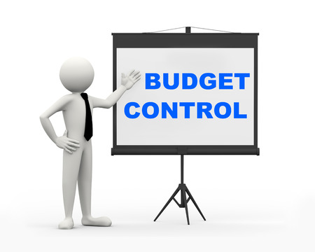 3d rendering of business person with tripod projector screen presenting concept of budget control. 3d white people man character