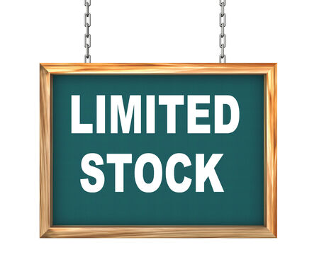 auction off: 3d rendering of hanging wooden signboard banner of concept of limited stock