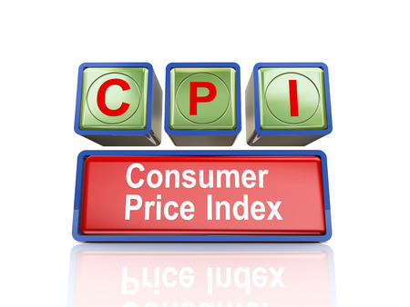 3d rendering of reflective boxes buzzword cpi - consumer price index