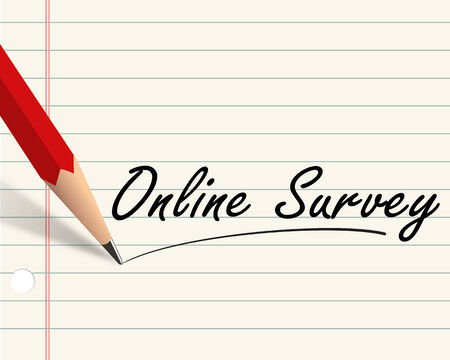 Illustration of pencil and paper written with word online survey illustration