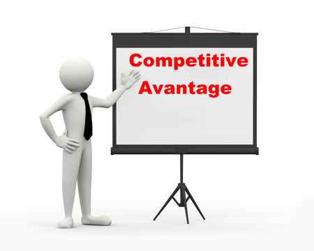 competitive advantage: 3d rendering of business person with tripod projector screen presenting concept of competitive advantage. 3d white people man character Stock Photo