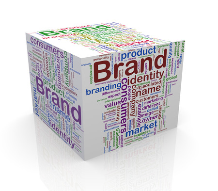 branded: 3d rendering of cube box of word tags wordcloud  of brand