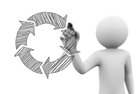 3D-Rendering Mann Zeichnung Kreisflussdiagramm Skizze auf transparentem Glas-Bildschirm. 3D-weiße Menschen Charakter Standard-Bild - 31722281