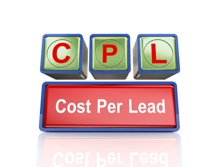 cpl: 3d rendering of reflective boxes buzzword cpl - cost per lead