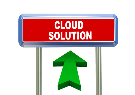 singpost: 3d rendering of moving arrow and roadsign singpost of of concept of cloud solution Stock Photo