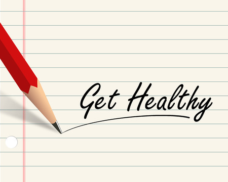 get a workout: Illustration of pencil and paper written with word get healthy