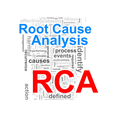 Illustration of wordcloud word tags of concept of rca - root cause analysis illustration