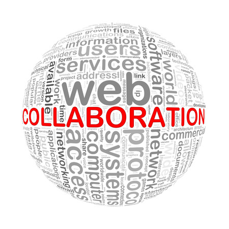 coordinate: Illustration of word tags wordcloud ball sphere of collaboration Stock Photo