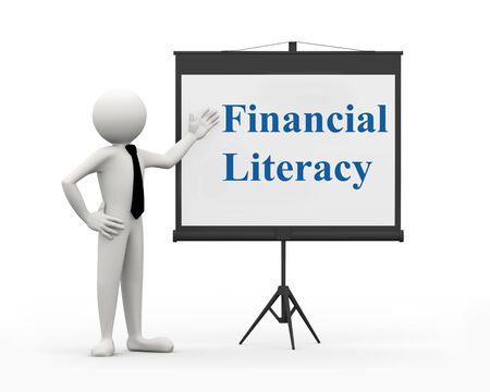 literacy: 3d rendering of business person with tripod projector screen presenting concept of financial literacy . 3d white people man character