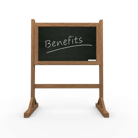 compensated: 3d rendering of black chalkboard presentation of concept of benefits