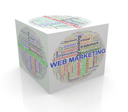 3d rendering of cube box of wordcloud word tags of web marketing