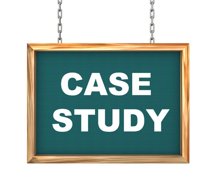 situational: 3d rendering of hanging wooden signboard banner of concept of case study Stock Photo