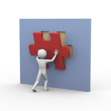 solve a problem: 3d rendering of man placing and fixing puzzle piece. Presentation of problem solution concept. 3d white people man character