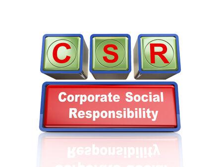 buzzword: 3d rendering of reflective boxes buzzword csr - corporate social responsibility Stock Photo