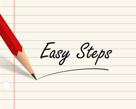 manage: Illustration of pencil and paper written with word easy steps Stock Photo
