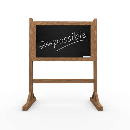3d rendering of black chalkboard presentation of concept of possibe and impossible photo
