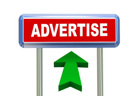 singpost: 3d rendering of moving arrow and roadsign singpost of of concept of advertise Stock Photo