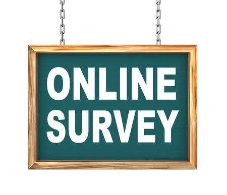 signboard form: 3d rendering of hanging wooden signboard banner of concept of online survey