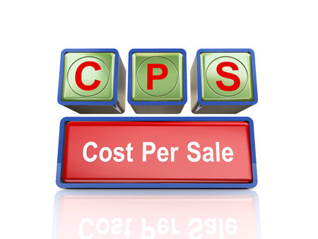 cpl: 3d rendering of reflective boxes buzzword cps - cost per sale