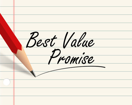 promise: Illustration of pencil and paper written with word best value promise