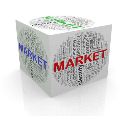 3d rendering of cube box of wordcloud word tags of market photo