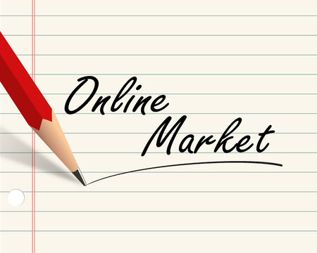 surfing the net: Illustration of pencil and paper written with word online market