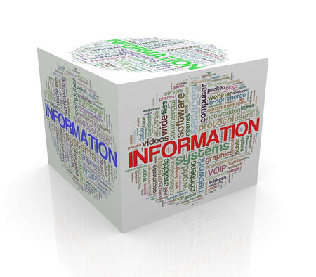 3d rendering of cube box of wordcloud word tags of information photo